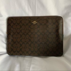 COACH Black & Brown Leather Laptop Sleeve